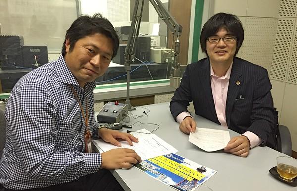 パーソナリティーの卓田和広アナウンサー(左)と札幌弁護士会 池田賢太 弁護士(右)